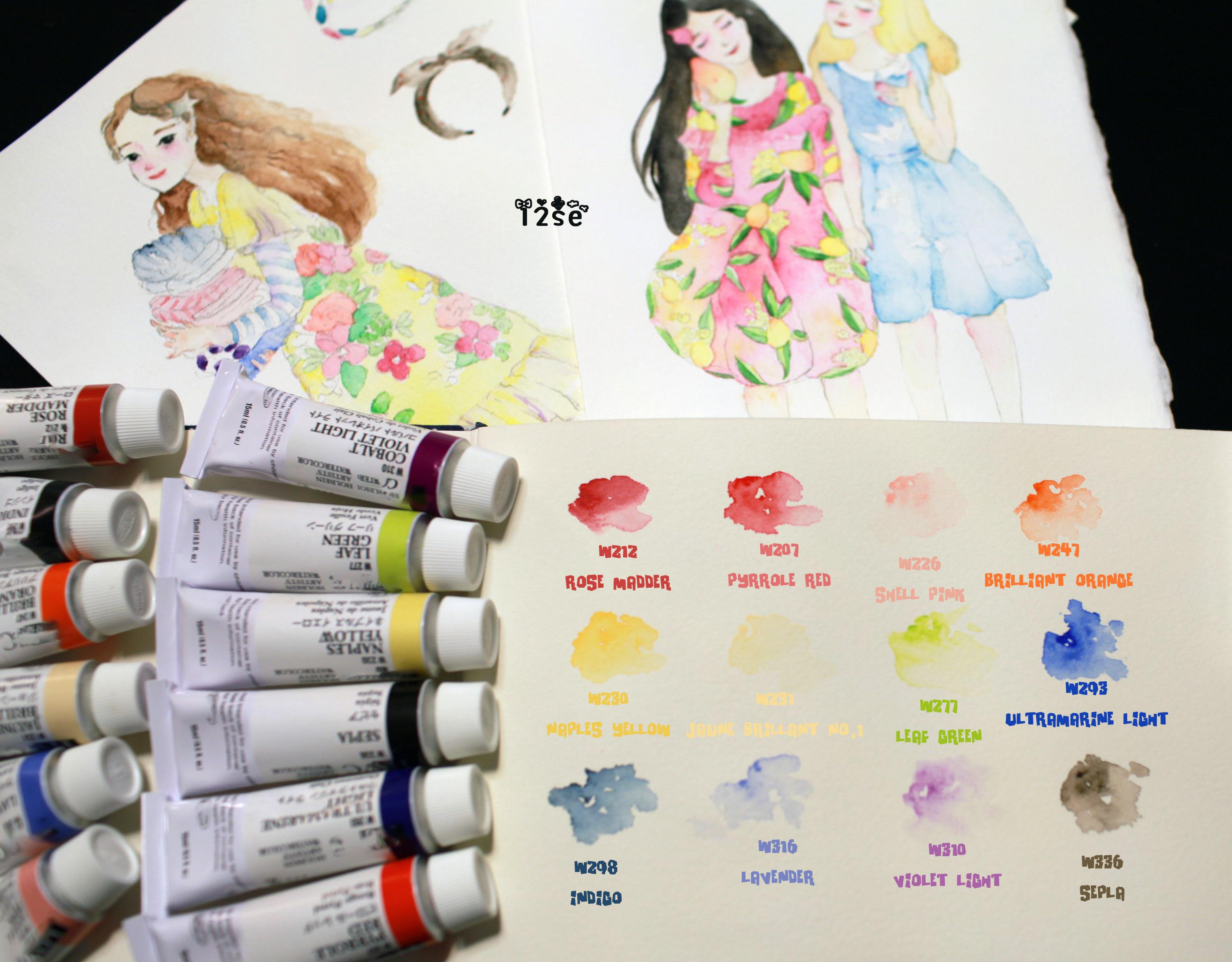 Japan Holbein Defeated HB Friendly Air Expert Watercolor Pigment 12 Colors split trial Package japan holbein expert level transparent watercolor seven gods 12 colors 1 2ml solid watercolor trial tray dispensing plate