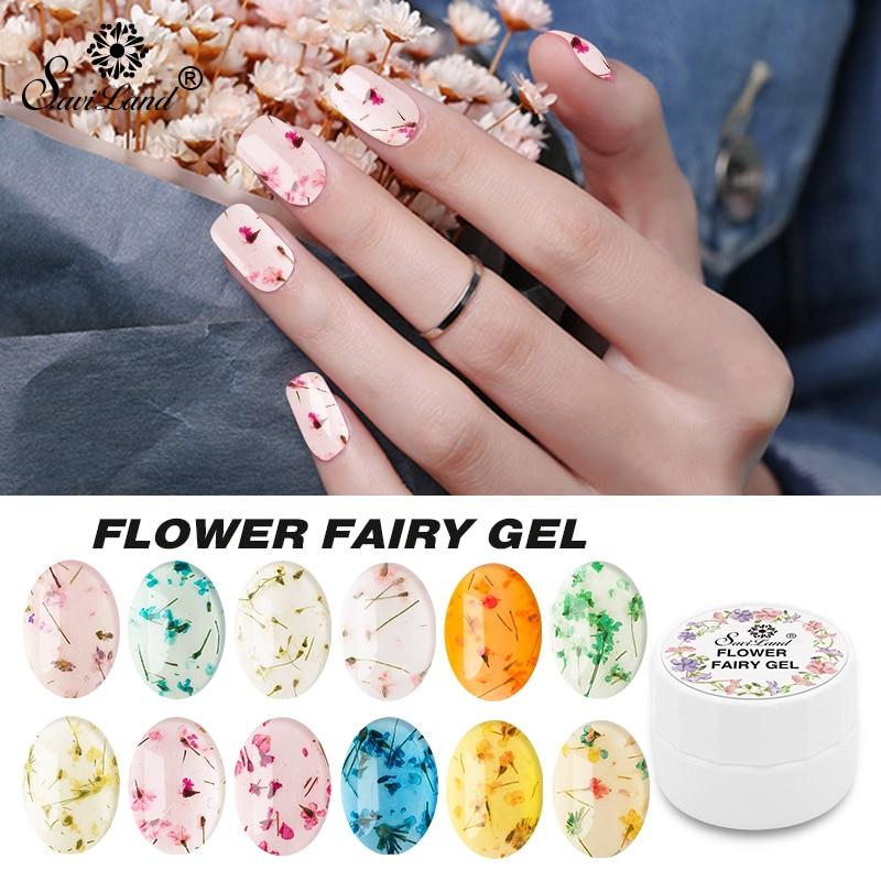 Saviland Blomster UV Gel Lucky Lucky Gel Maling Tørrede Blomster Neglelim 3D DIY Desgin Natural Fairy Gel Neglelak