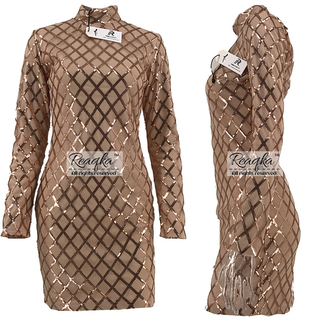 Autumn Winter Black Long Sleeve Sheath Gold Pattern High Neck Party Dresses 1