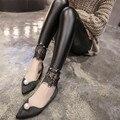 2016 New Winter&Autumn Lace Leather Leggings Black Spandex Workout Fitness Jeans Women Push Up Fashion Pants Plus Size Leggings