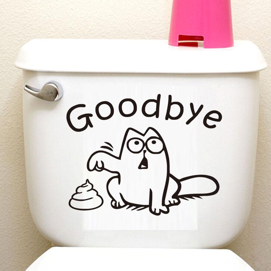 DCTOP Grappige kat toiletbril muursticker Vinly verwijderbare Home Decor waterdicht Decal afscheid met de kruk WC badkamer