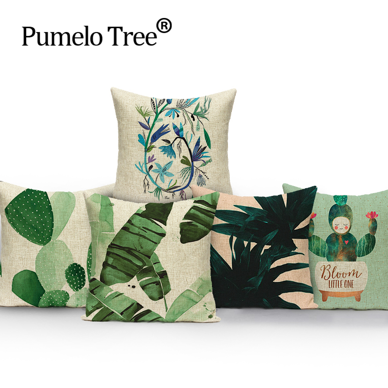 45*45 cm Home Decorative Hand Painted Tropical Plant Leaves Linen Cotton Decorative Pillow Cushion Factory Direct Supply Cover