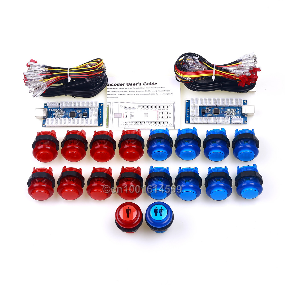 Arcade MAME Multicade DIY Bundles LED 4 In 1 USB Encoder Board + Arcade LED Push Button + LED Start Player Button To MAME Games usb mame