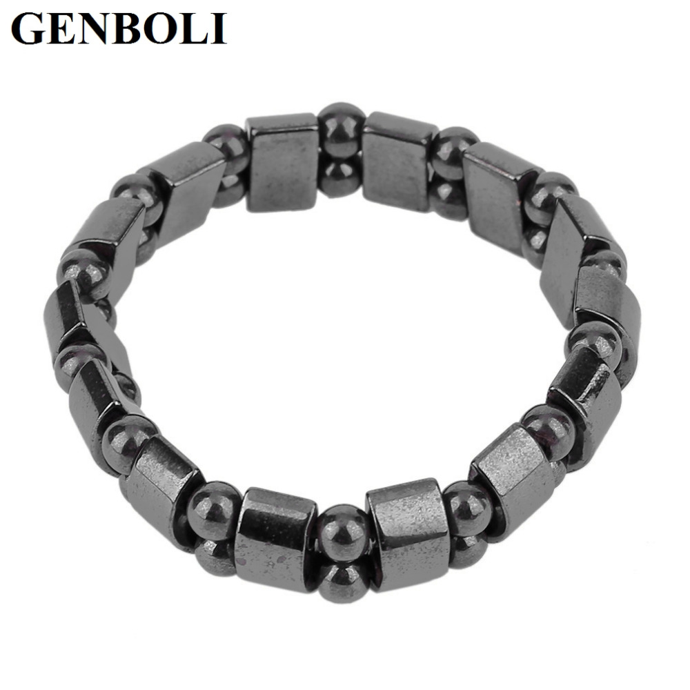 GENBOLI Black Color Natural Stone Black Magnetic Ball Beads Bangle Bracelet Gifts Rope Chain Trendy Jewelry Simple Design