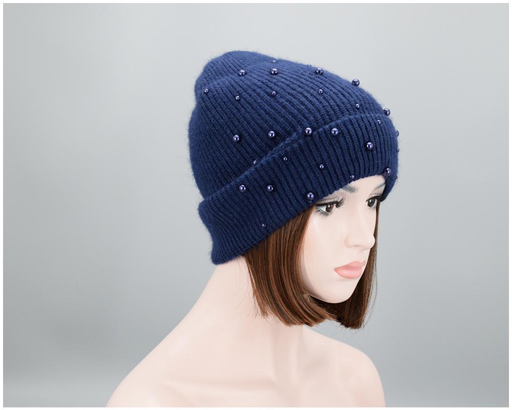 11 colores. Nuevo diseño mujeres invierno perlas beanies alta ... 0d3ad6f73a8