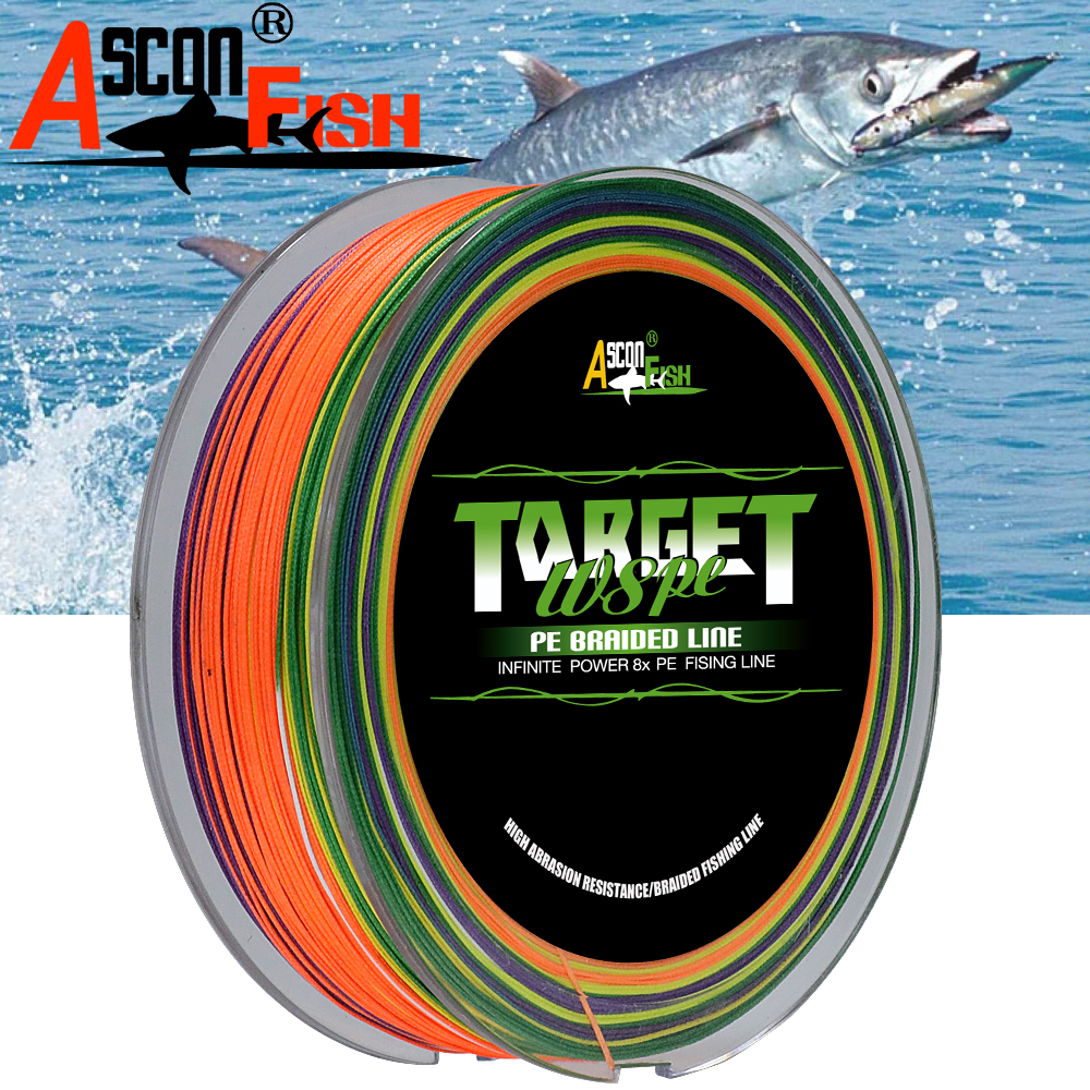 Ascon Fish PE 8 Strands Braided Fishing Line 500m 8 Strand Multifilament Fishing Line 547yd Japan Rope 6-300LB Multi Color