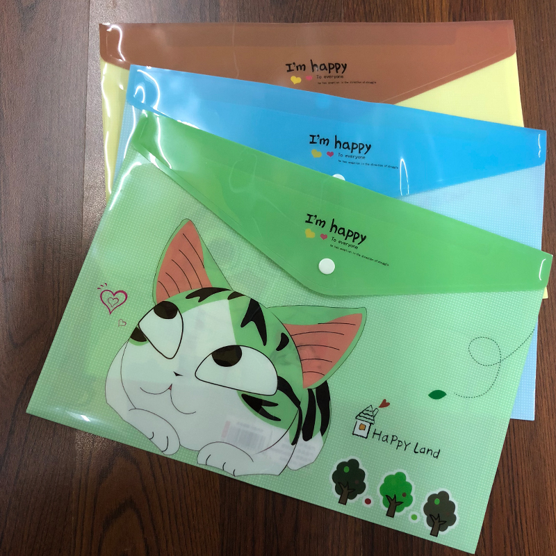 1PC Cute Cat File Bag Folder Document Filing PVC A4 Stationery Bag Office School Supplies