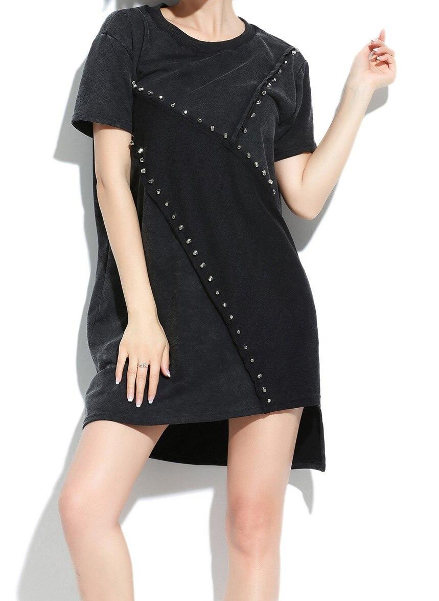 Модные женские топы с заклепками, женские футболки, женские футболки в стиле панк, длинные женские футболки, женская одежда - Цвет: Многоцветный