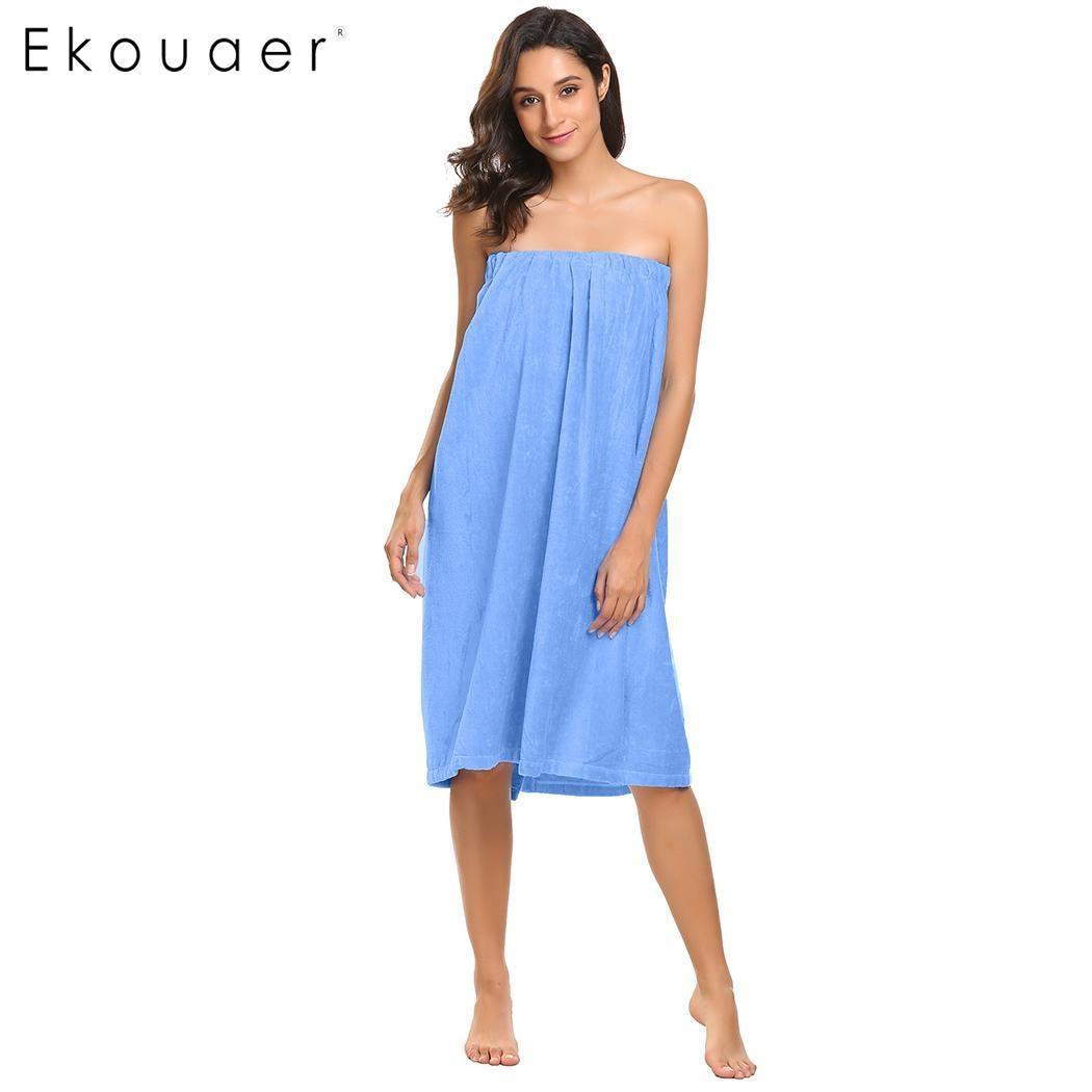Ekouaer Bath Body Women Solid Spa Wrap Towel Robe
