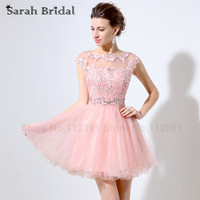 Illusion Pink Lace Appliques Homecoming Dresses Sleeveless 2016 Sheer Short Cute 8th Grade Graduation Dresses Vestidos