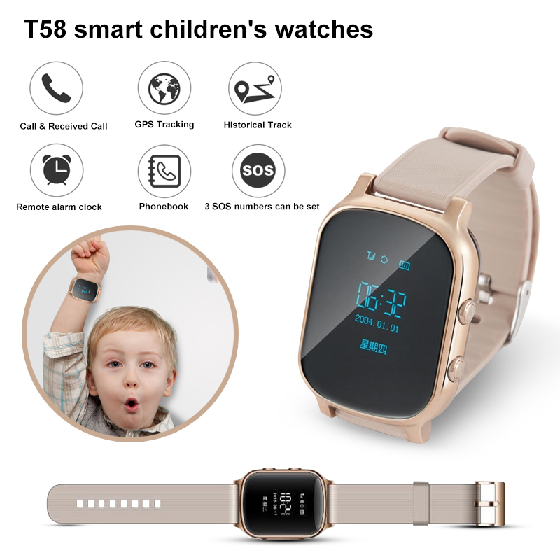 2018 New T58 smart children's watches GPS Tracker SOS Call with sim card Kid Smartwatch For IOS android Phone GPS Watch relogio smart watch t58 with glass films gps smart watch support sim card gps finder wearable activity tracker for children adults