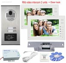 New 2 Apartment Video Intercom With Lock CCD 2 Buttons Rfid IR Camera Color 7″ Monitors Video Door Phone Door Bells System Unit