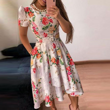 Women Summer Dress Floral Printed Retro Round Neck Short Sleeve Pleated Hem Knee-Length Dress army green oversized round neck pleated hem mini dress