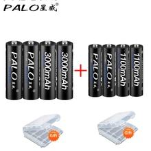 PALO 4pcs 1.2V High capacity AA 3000 Batteries +4Pcs 1100mah  Batteries  AA/AAA 3A Rechargeable Battery With Battery Box Gift