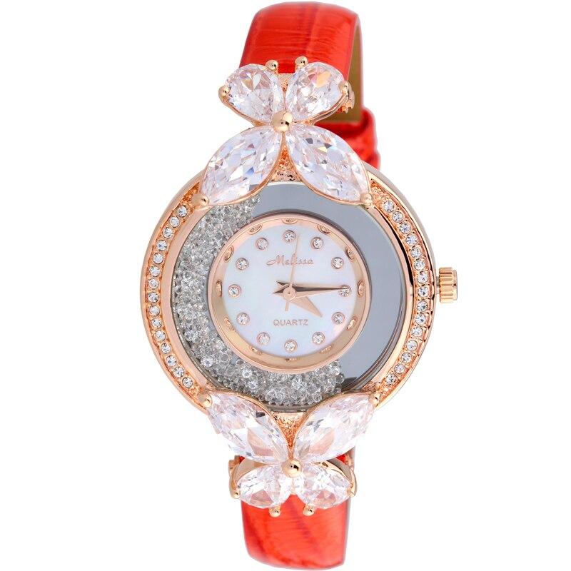 MELISSA belle montre papillon en cristal romantique élégant femmes robe montre-bracelet en cuir véritable Quartz analogique Relojes Femme F12073