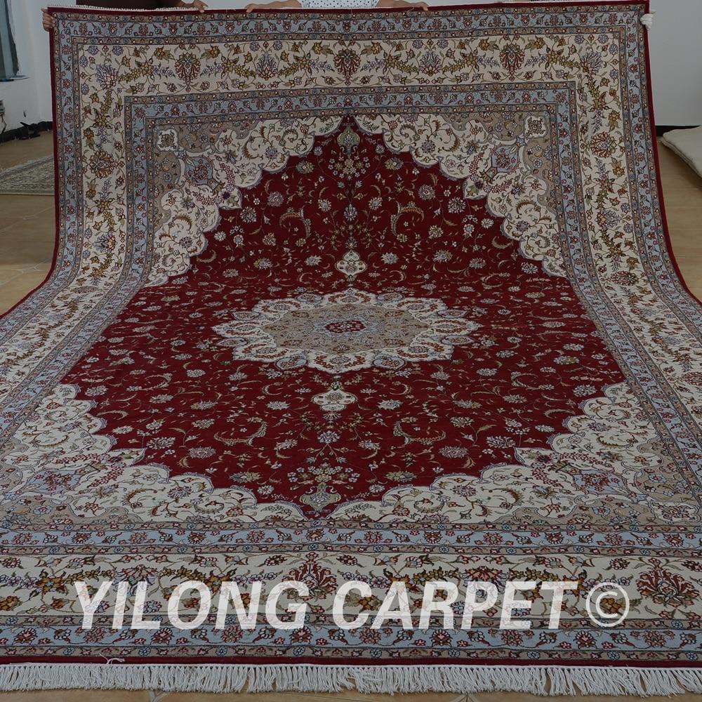 Yilong 10u0027x14u0027 Hand Made Woolen Rugs Red Handmade Exquisite Modern Kazak  Wool