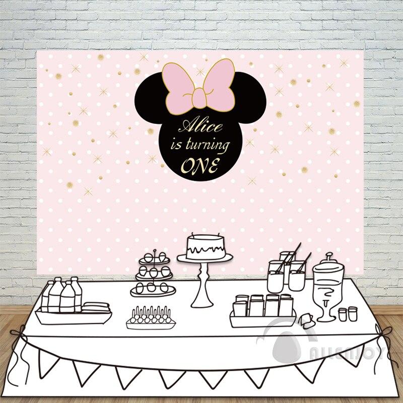 Allenjoy 여자들의 배경 베이비 샤워 1 생일 초대 축하 파티 핑크 보우 골드 스타 서클 photocall 배경