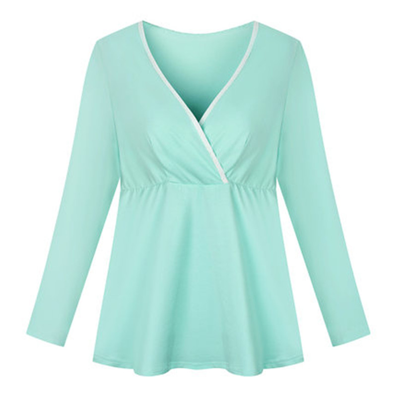 høy kvalitet Laktasjonsklær Brystkremsplagg Nursingstank Maternity klær blonder V-hals skjorte kort langermet
