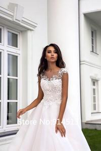Image 4 - Pink Lovely Wedding Dress Short Cap Sleeve Illusion Lace Button Applique Zipper A line Bridal Dress vestido de noiva