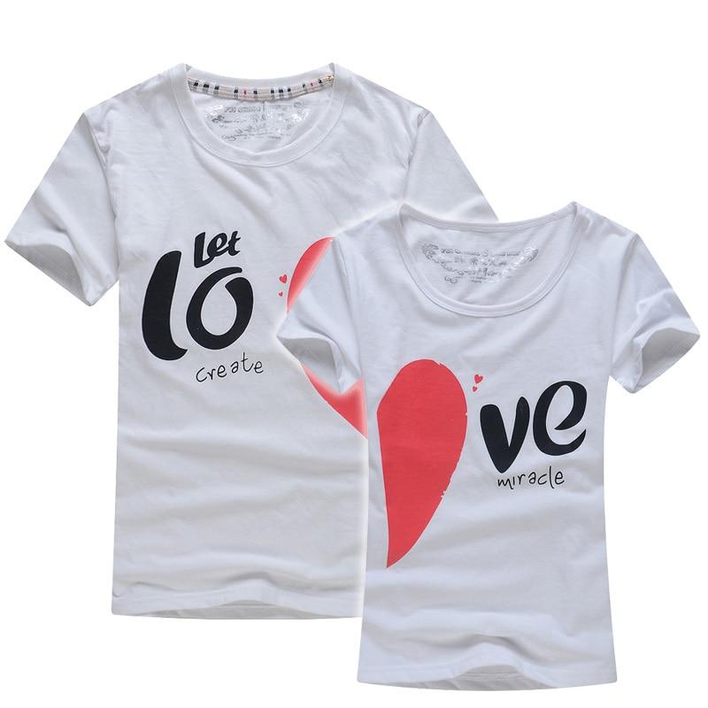 Men Women Couple T Shirt Tops For 2015 Summer Love Heart ...