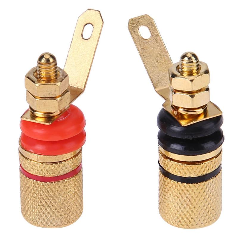 Alloyseed 2pcs Gold Plated Speaker Binding Posts Audio Terminal 4mm Sockets For Banana Plug