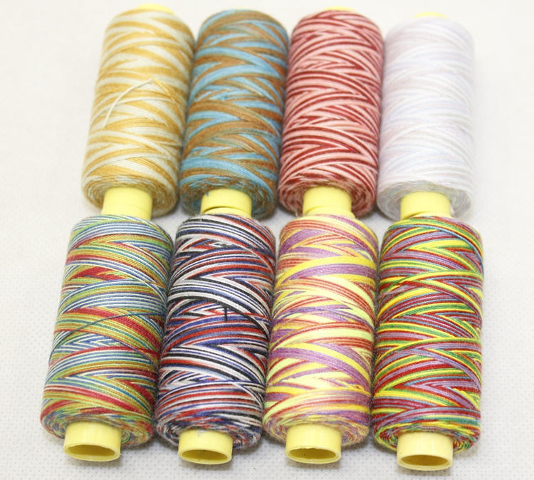 KingClouds high quality Variegated 202 or 203 Polyester machine/hand sewing thread Rainbow color 150Y/cone free shipping