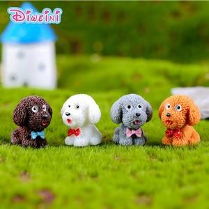Image 1 - 4 adet/grup Teddy Köpek Minyatür Heykelcik Sevimli karikatür Figürleri hayvan modelleri Pet oyuncak DIY Aksesuarları Bebek Evi oyuncak Dekorasyon