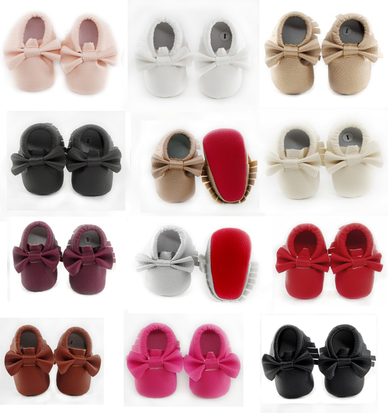 Super Soft Red sole Baby Moccasin Fashion butterfly-knot Newborn Baby Shoes Tassels PU leather infant Boots Christmas