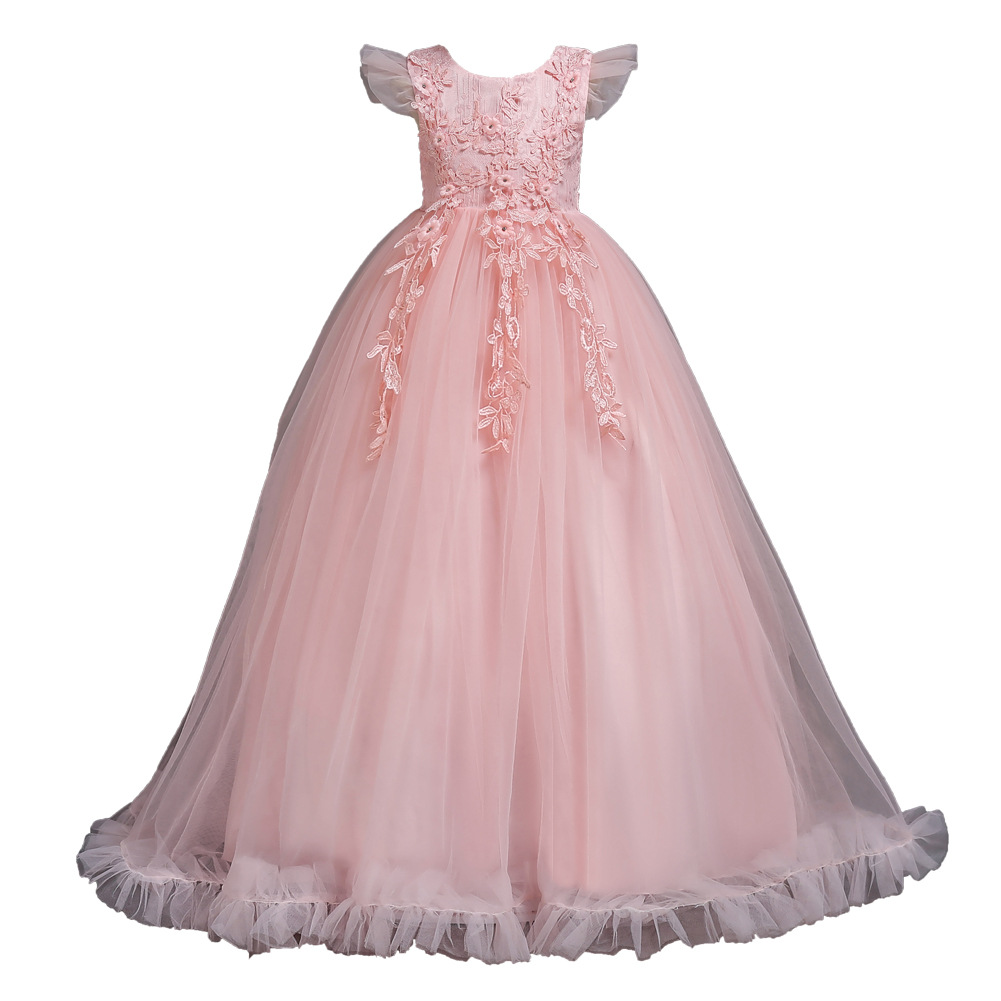 New Arrival Teenager Pageant Wedding Party Ball Gown Yellow Blue Red Purple Blush Pink Floor Length Tulle   Flower     Girl     Dress