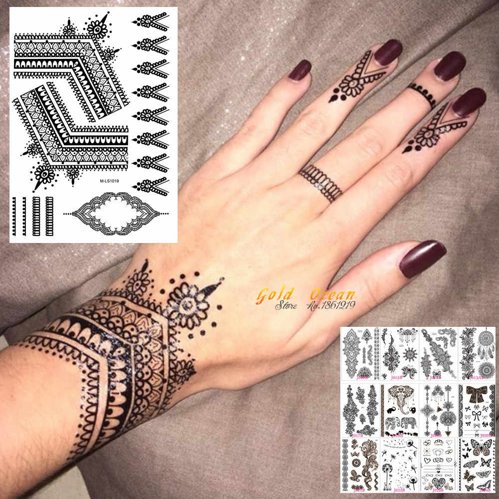 25 Styles Sexy Lace Black Henna Temporary Tattoo Sticker Women Hand Jewelry Tatoo Paste Waterproof Fake Body Art Tattoo Stickers