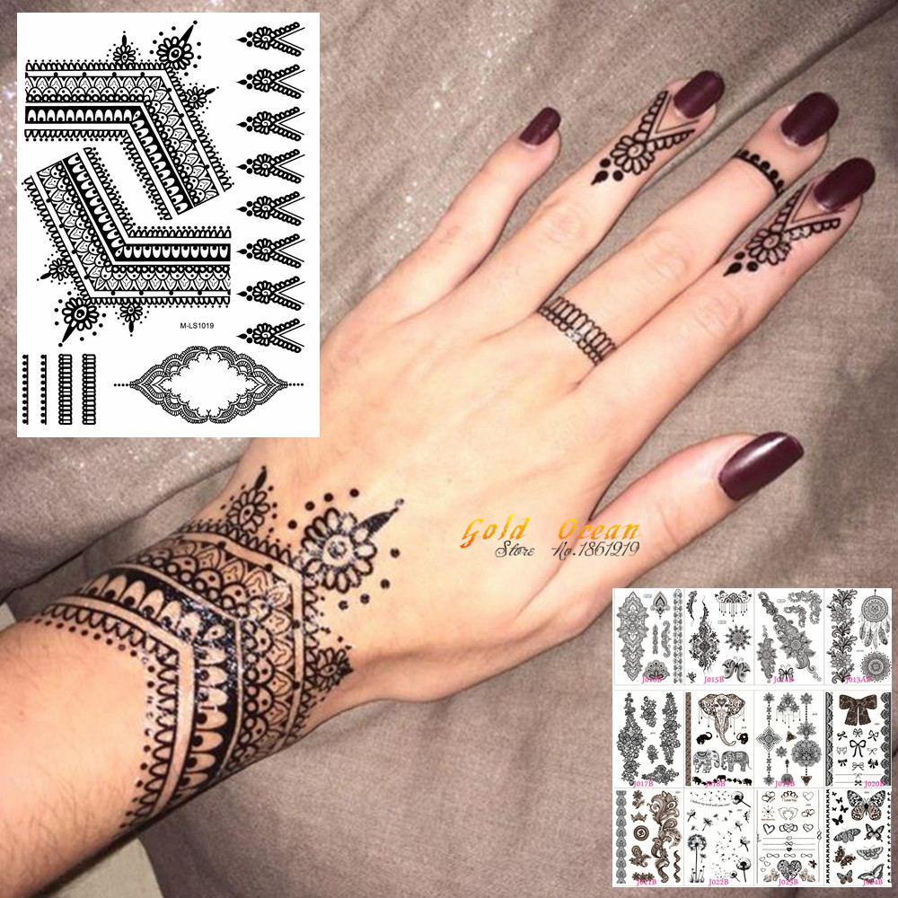 цена на 25 Styles Sexy Lace Black Henna Temporary Tattoo Sticker Women Hand Jewelry Tatoo Paste Waterproof Fake Body Art Tattoo Stickers
