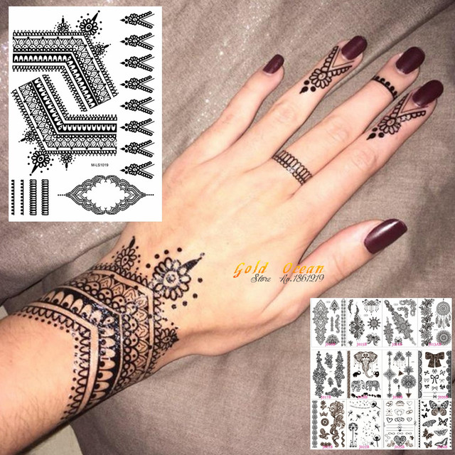 25 Styles Sexy Lace Black Henna Temporary Tattoo Sticker Women Hand