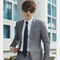 Hot Silver One Button Split Sides Casual Men Suits Three-pieces Suits Jacket+Pants+Ties Formal Fashion Groom Wear Prom Suit