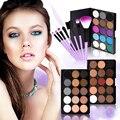 Nueva Llegada de 15 Colores de Sombra de Ojos En Polvo + 7 Unidades de Maquillaje Profesional Cepillos Cosméticos Sombra de Ojos Paleta de Sombras de Ojos Sombras