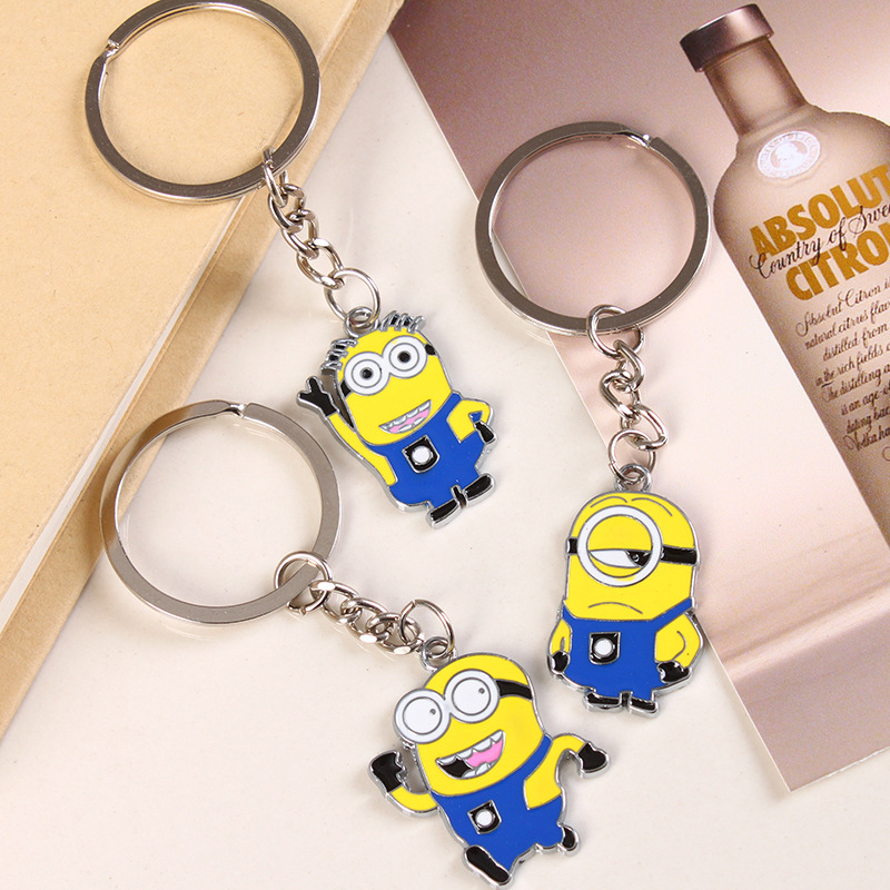 1 pcs Free shipping Despicable Me Key Chain Cartoon Minions Keychain Key Ring Chaveiro best gift fvip wholesale wallet ghost busters minions despicable me doctor who rolling stone inside out nintendo wallets