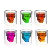 4Pcs Shot Glass Crystal Beer Whiskey Shot 3D Skull Head Wine Glass Mug Double Glass Cup Vodka Bar Club Beer Wine Glass 3 Sizes