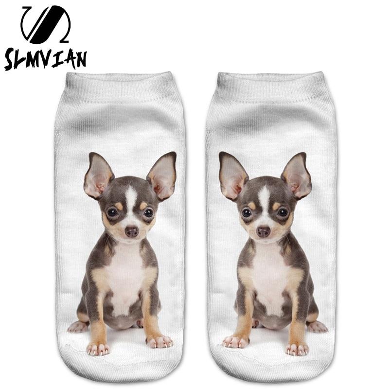 SLMVIAN New Brown Chihuahua Puppy 3D Print Animal Women Socks Casual Cartoon Socks Unisex Low Cut Ankle Socks