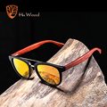 Солнцезащитные очки HU WOOD  модные серебристые зеркальные линзы  бамбуковые солнцезащитные очки для мужчин  поляризационные очки в пластиков...