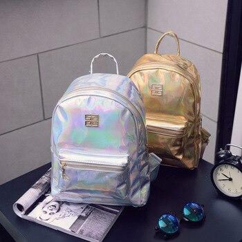 Musim panas Baru Fashion Hologram Laser Backpack Perempuan Mahasiswa PU Ransel Perjalanan Liburan Tas Untuk Anak Perempuan Sekolah Kasual Multicolor