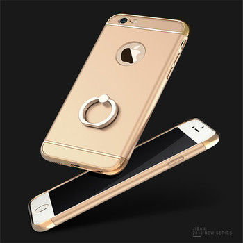 Hybrid Ring Cover Back Para Case for iPhone 6 6S  6 6S Plus Luxury Plating PC Frame Protectiver Phone Shell Case for iPhone 6 360 degrees