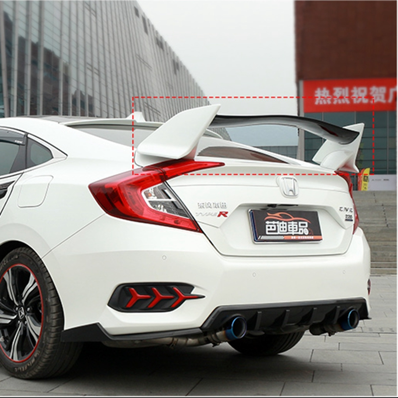 MONTFORD For Honda Civic Spoiler 2016 2017 ABS Plastic Unpainted Primer Color Rear Trunk Boot Wing Lip Spoiler Car Accessories car rear wing trunk lip spoiler for suzuki vitara 2016 2017 2018 accessories styling