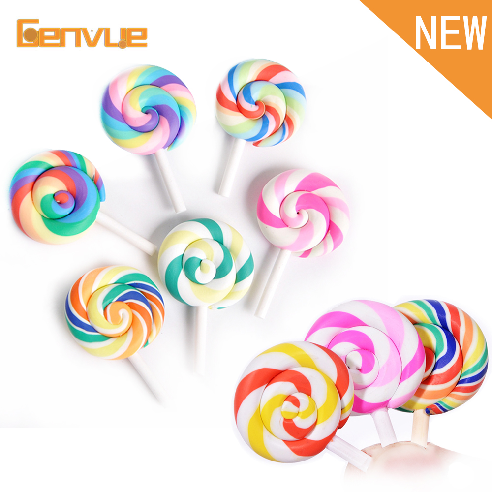 1Pcs Rainbow Lollipop Fimo For Slime DIY Candy Polymer Filler For Slime Supplies  Accessories Toy Lizun Charms Modeling Clay Toy