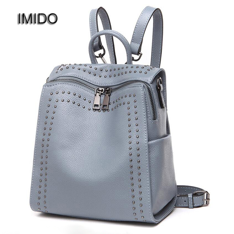 IMIDO New 2017 Real Soft Genuine Leather Women Backpack Woman Korean Style Ladies Strap Bag Daily Backpacks Girl School SLD042 2016 new free shipping 100% real genuine cowhide leather women s backpacks brief ladies casual backpack girl school bag 3 color