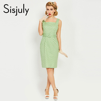 Sisjuly 1950s Style Women Bodycon Vintage Dress Summer Pin Up Green Sashes Dot Elegant Retro Dress