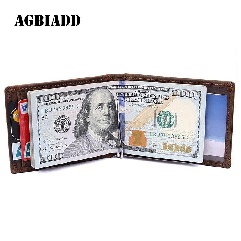 AGBIADD RFID Blocking Bifold Slim Genuine Leather Thin Minimalist Front Pocket Wallets for Men Money Clip Full Grain Leather 577 genuine leather thin leather wallets for