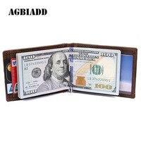 AGBIADD RFID Blocking Bifold Slim Genuine Leather Thin Minimalist Front Pocket Wallets For Men Money Clip