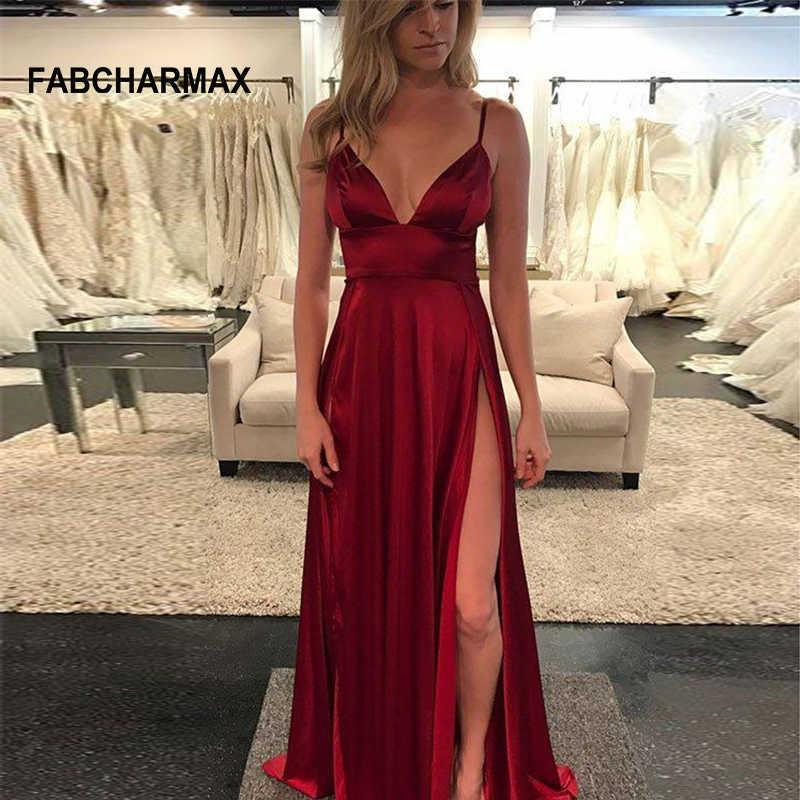 High waist v neck silk satin long dress summer 2018 elegant evening party  slip dresses women 50d75fdb7719