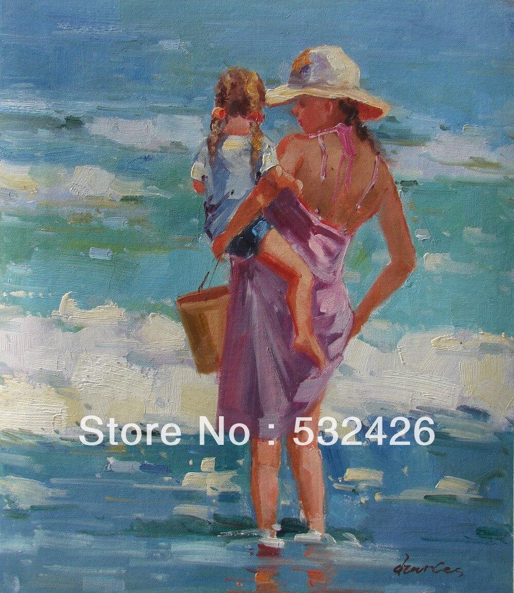 Maman et fille jouant mer plage sable seau 20 x 24 peint for Peinture avec du sable