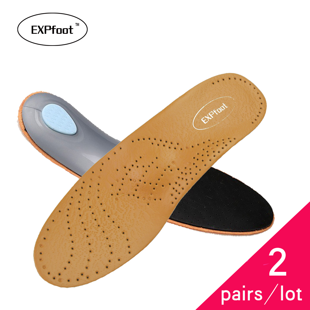 2pair/lot EXPfoot Premium Healthy Leather Orthopedic Insole Arch Support  for Flat Foot EVA Pads deodorization men and women 456 expfoot orthotic arch support shoe pad orthopedic insoles pu insoles for shoes breathable foot pads massage sport insole 045