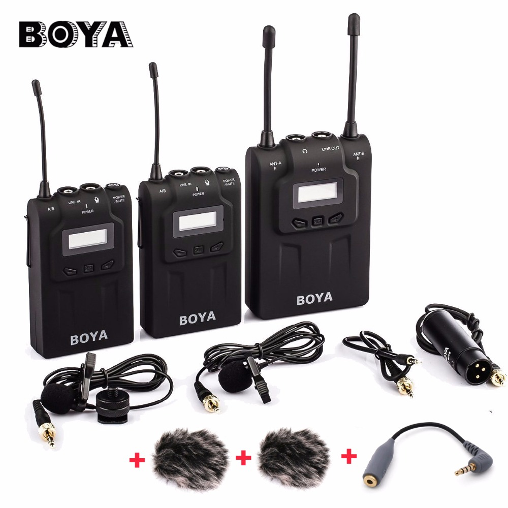 original boya by wm8 wireless lavalier microphone for iphone x 7plus dual channel microphone. Black Bedroom Furniture Sets. Home Design Ideas
